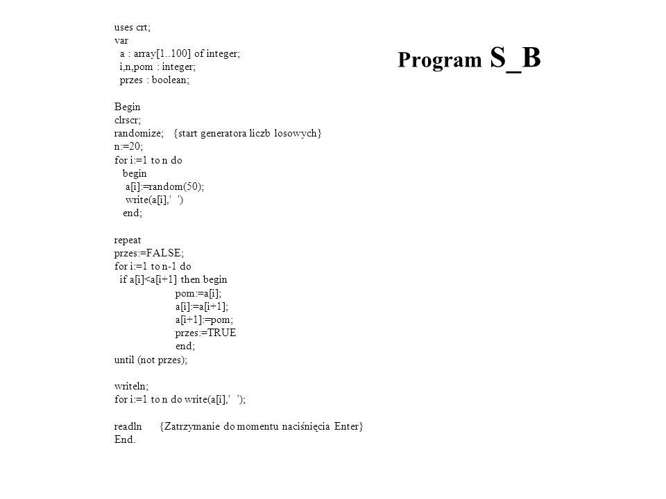 Program S_B uses crt; var a : array[1..100] of integer;